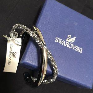 Swarovski silver tone and crystal cuff bracelet